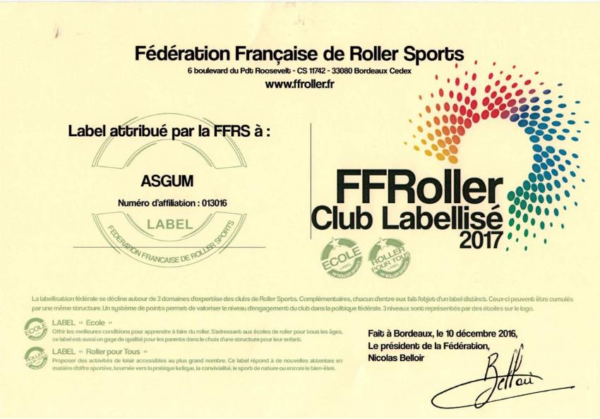ASGUM club labellisé FFRS 2017 - Ecole de roller - Roller pour tous